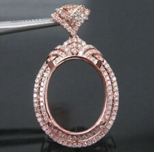 Oval Cut 13×16mm Solid 14Kt Rose Gold Natural Diamond Semi Mount Pendant