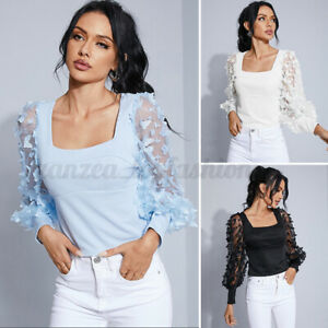Women Long Sleeve Blouse Mesh Patchwork Shirt OL Party Top Tee Casual Loose Tops