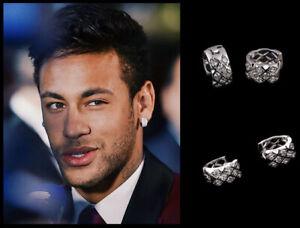 Men's/Boy's: Neymar - Large, Bling, Multi-Diamond 18K White Gold Huggie Earrings