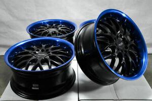 17x7.5 Wheels Rims Black Blue 5x114.3 5x100 Fit Kia Sorento Optima Forte Civic