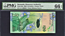 Bermuda $20 Hybrid Polymer 2009 1st Prefix LOW # A/1 000039 P-60a GEM UNC PMG 66