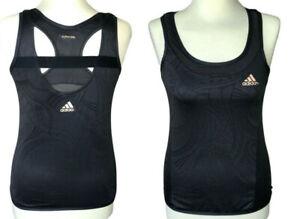 Adidas Climacool medium tank top black running yoga bra cut out back