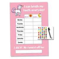 Unicorn Tooth Teeth Brushing Reward Chart - Kids Childrens Sticker Star
