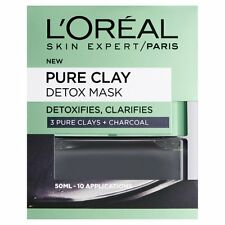 New Pure Clay Detox Mask - 50 ml, Black Face Peel Charcoal Skin Loreal Oreal