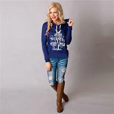 Womens Deer Casual Long Sleeve Hoodie T Shirt Tops Blouse Casual Pullover Petite