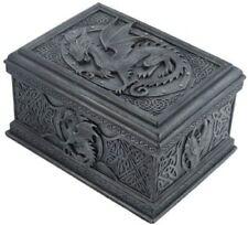 "Black Celtic Dragon Textured Decorative Trinket Box   5.75"" Inch GIFT BOXED"