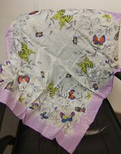 Vintage Beautiful Butterfly Scarf, Hand Rolled, Rayon & Silk Blend, Japan, New!