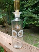 "Vintage Glass FOUR SEASONS DECANTER with Stopper 12"" GOLD Mid Century"
