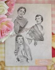Vintage 1930s Knitting Pattern For 2 Evening Scarves & 1 Crocheted Stole