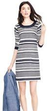 J.CREW Jules Striped Shift Dress 100% Silk Lined Navy Blue & Cream Womens SZ 4
