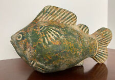 9� Vintage Terracotta Koi Fish Sculpture Green, Orange