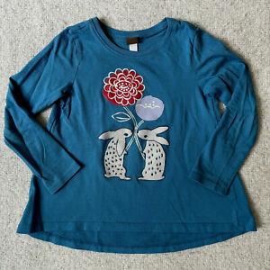 Tea Collection Long Sleeve Tee Top Girls Size 5 Teal Bunny Rabbit Flower