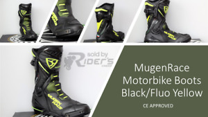 MugenRace Phantom-R Motorbike Boots MNR1990 BLACK/FLUO YELLOW, CE APPROVED
