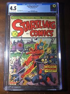 Startling Comics #27 (1944) - WW2 Alex Schomburg Nazi Cover!!  - CGC 4.5