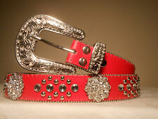Women's Genuine Red Western Bling Belt Size Medium Only