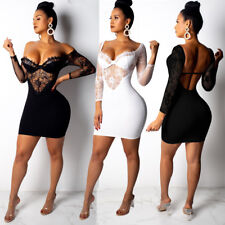 Womens Party Dress Bodycon Clubwear Lace Mini Skirt Long Sleeve Backless Costume