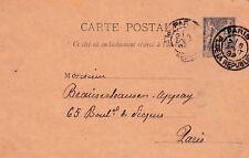 Y119 CARTE POSTALE entier postal 10 centimes SAGE obliteration de PARIS en 1892