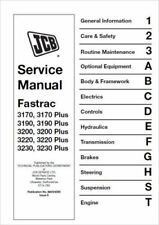 JCB Fastrac 3170, 3190, 3200, 3220, 3230, & Plus Models  Service Manual (0256)