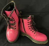 Dr. Martens Air Wair Delaney Hot Pink Ankle Boots Lace Girls Size 2