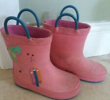 NEXT Girls pink wellies with blue handles. Size 7 Dog & pencils. Snow & puddles