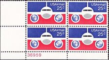 US - 1976 - 25 Cents Red White & Blue Airplane Globes Airmail C89 Plate Block NH