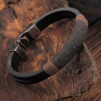 Mens Boys Handmade Leather Braided Surfer Wristband Bracelet Bangle Jewellery