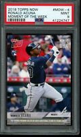 2018 Topps Now Moment of the Week Ronald Acuna Jr. RC PSA 9 Mint #MOW4