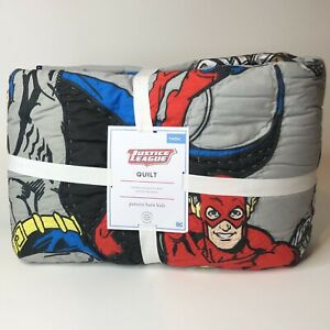 NEW Pottery Barn Kids Justice League DC Universe Super Hero's Cotton Quilt TWIN