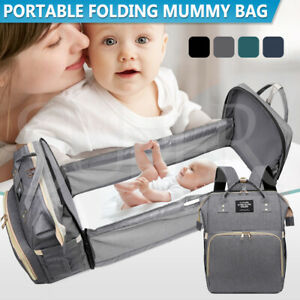 Foldable Large Mummy Bag Baby Bed Backpack Maternity Nappy Diaper Folding Crib