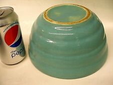 """MIDCENTURY BAUER ART POTTERY RINGED RIBBED BATTER MIXING BOWL 8"""" TURQUOISE GREEN"""