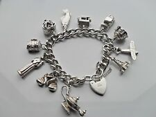 Ladies Charm Bracelet  & Charms Albert Style Links Solid 925 Sterling Silver