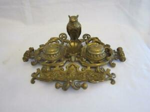 VINTAGE BRASS DOUBLE INKWELL WITH PERCHED OWL