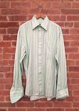 Comme Des Garcons Homme Plus Mint Green Stripe French Cuff Dress Shirt 18.5/45