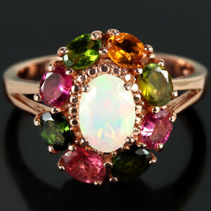 NATURAL AAA RAINBOW OPAL & MULTI COLOR TOURMALINE STERLING 925 SILVER RING 6.5