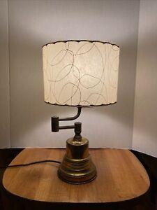 Vintage Brass Lamp Swing Arm Desk Table With Nice Fiberglass Shade