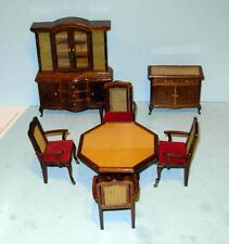 VINTAGE 7 PC WALNUT DINING ROOM SET CANED DOLLHOUSE FURNITURE & MINIATURES