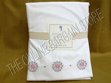 Pottery Barn Kids Dahlia Cuff Floral Bloom Bed Sheets Set Queen Pink Embroidered