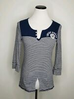 Lucky Brand Womens T-Shirt Top V-Neck Front Logo 3/4 Sleeve Striped Blue Buttons