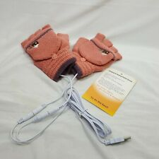 USB Charging Heated Gloves Fingerless Fold Over Top Embroidered House One Size