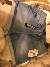 $49 Women's Seven 7 Sz4 Knit Denim Light Blue Jeans Cut Off Summer Short Shorts