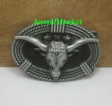 1 x mens ladies belt buckle metal alloy bull jeans cowboy farmer longhorn rope