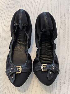 Authentic Burberry Gold Buckle Black Canvas Ballerina Flats Size 40