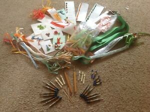 LARGE COLLECTION OF QUILLING PAPERS, SAMPLE SHEETS, WOODEN AND METAL TOOLS
