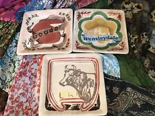 WORLD MARKET Hand-painted Assorted Square Cheese Plates Set of 3