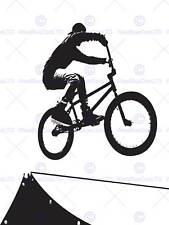 PAINTING SPORT BMX BIKE BICYCLE JUMP AIR RAMP BLACK WHITE POSTER PRINT BMP11222