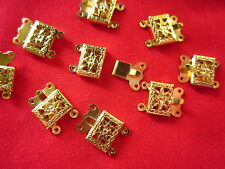 10 Gold Plated 2-Strand Box Clasps 15x10mm #1517 Combine Post-See Listing