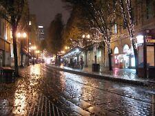 Glistening Yamhill . Streetscape photo -  Cobblestones, nightscape Portland OR