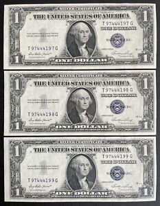 1935-E Silver Certificate $1 Blue Seal Dollar Bill Consecutive Lot Of 3 (C142)