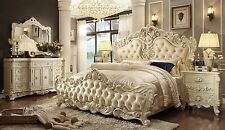 Homey Design Lucille 6 Piece Queen Leather Victorian Bed Set Furniture HD-5800