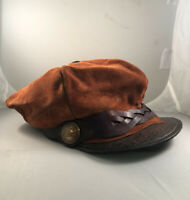 Vintage Hand Made Tooled Leather Suede Motorcycle Cap Newsboy Hat ONE OF A KIND
